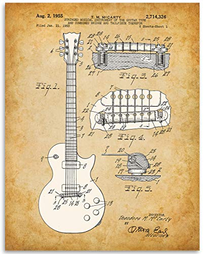 (1955 GIBSON LES PAUL GUITAR Patent - 11x14 Unframed Patent Print - Great Gift Under $15 for Guitar Players)