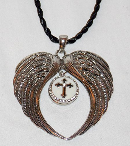 New Silver Angel Wings with 12mm Interchangeable Snap On Braided Cord Hanging Car Mirror Charm Decor (Black & White Rhinestone Cross)