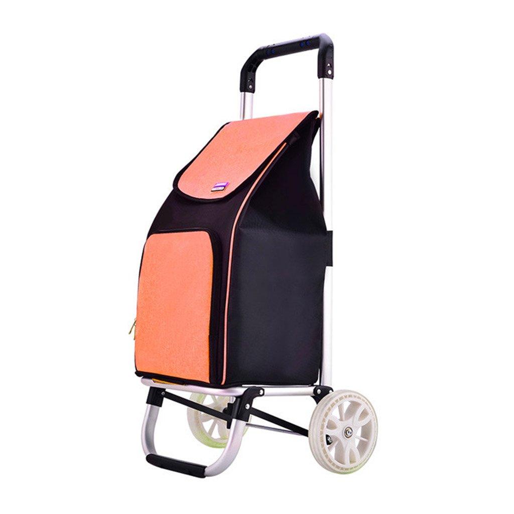 アルミ合金の折り畳みカートのホームポータブルトロリー、42 * 40 * 90センチメートル (Color : Orange) B07FM2G2MF Orange Orange