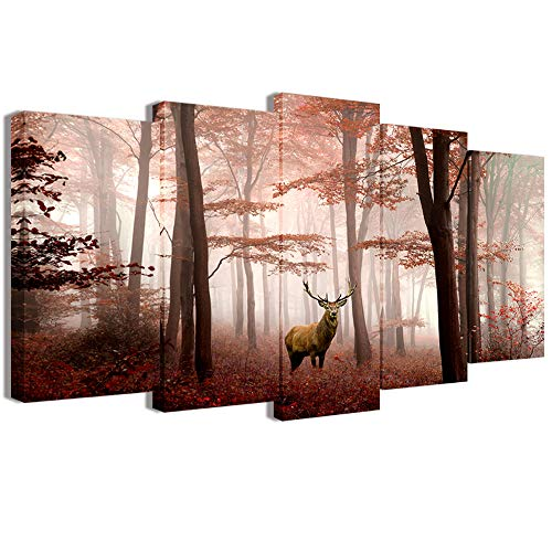 Beautiful 5 Piece - Visual Art Decor Large 5 Pieces Canvas Prints Deer in Red Forest with Beautiful Moody Light Landcape Picture Animals Elk Prints Framed and Stretched Decoration for Home Wall (02 W-60 xH-32)