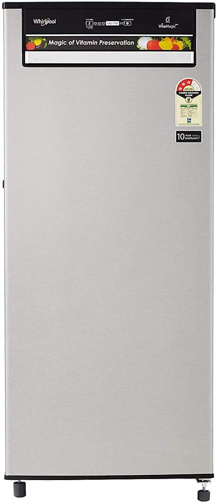 Whirlpool 200 L Direct Cool Single Door 3 Star Refrigerator(Alpha Steel, 215 VITAMAGIC PRO PRM 3S ALPHA STEEL-E)