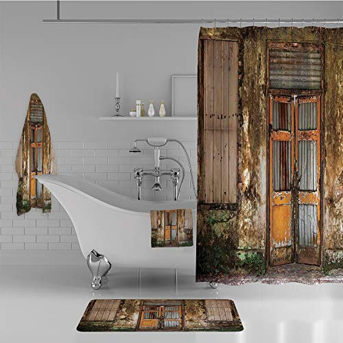 iPrint Bathroom 4 Piece Set Shower Curtain Floor mat Bath Towel 3D Print,House with Boarded Up Rusty Doors and Mold Windows,Fashion Personality Customization adds Color to Your Bathroom. -