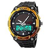 "Mens Solar Sport Digital Watch Novelty Design Wristwatch Analog Digital Dual Time Display 50M Waterproof Fits 5.91""-8.66""(Gold)"