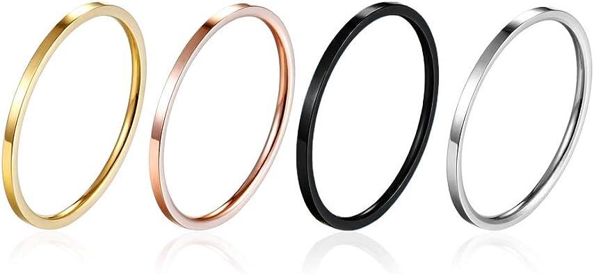 Amazon.com: Yfigo - 4 anillos de titanio y acero inoxidable ...