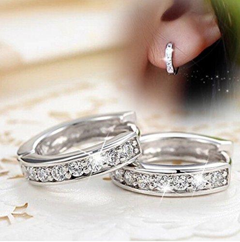 Silver Earrings Crystal Charming Jewellery