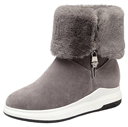 Mofri Women's Fashion Faux Suede Furry Folded Top Side Zipper Ankle Booties Round Toe Platform Short Snow Boots (Gray, 8.5 B(M) US)