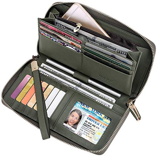 Itslife Women RFID Leather Wristlet Wallets Zip Around Phone Checkbook Card Big Clutch Large Ladies Travel Purse (Stripe Army Green)