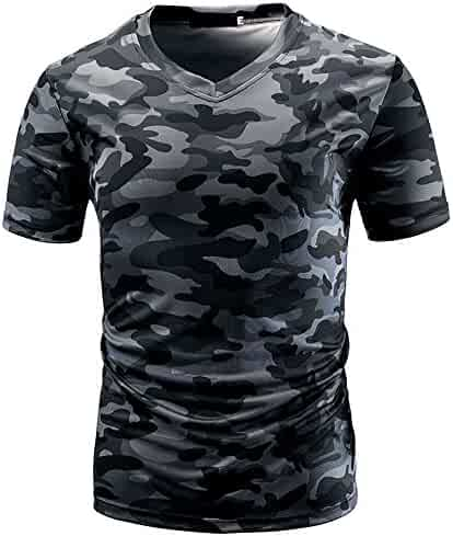 afcbc1d7 WEUIE Men's Casual Camouflage T-Shirt, V Neck Short Sleeve T-Shirt Pullover
