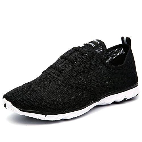 Cawani Men's Quick Drying Aqua Water Shoes Wading Shoes (10 D(M) US, Black-White)