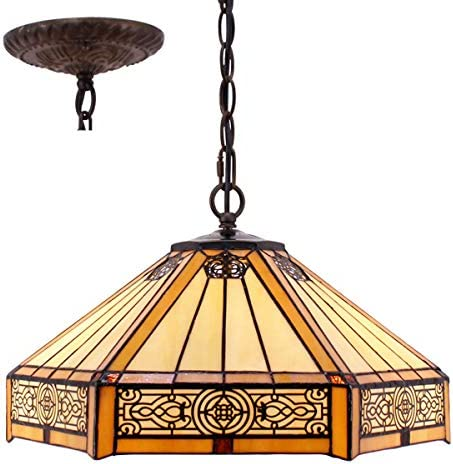 Tiffany Hanging Lamp 16 Inch Pull Chain Yellow Stained Glass Hexagon Mission Lampshade Anqitue Chandelier Ceiling Style Pendant 2 Light Fixture Decorate Dinner Living Room Bedroom S011 WERFACTORY