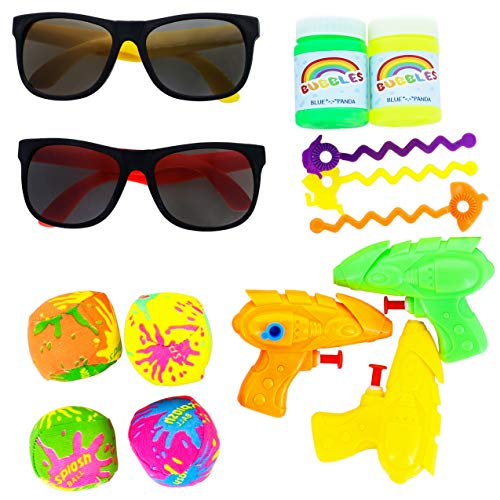 Blue Panda 48-Pack Pool Party Favor Toys for Kids Beach Theme and Summer Parties - 12 Water Guns, 12 Bubbles, 12 Sunglasses, 12 Splash ()