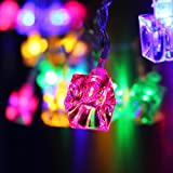 Battery Operated Ice Cube LED Christmas String Lights – Multi Color String Light, 2 Work Modes Battery Box, 7.3ft Length 20 Cubes for Christmas, Holiday, Party, Event Decorative Lighting