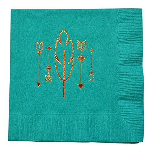 Arrows and Feather Tribal Bohemian Foil Cocktail Napkins, Southwestern Boho Party Supply, Made in America by REVEL & Co -