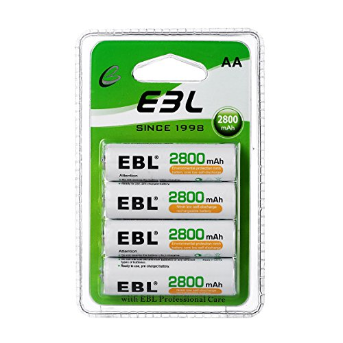 (EBL AA Rechargeable Batteries 2800mAh New Retail Package, Pack of 4)