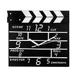 Voberry Cinema Movie Slate Analog Wall Clock Clapper Film Modern Home (Black)