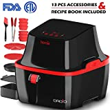 lowfat fryer - Automatic Electric Hot Air Fryer - Oilless Low-Fat Healthy Cooking - Large 3.2 L (3.4 Qt) XL Capacity - 1800W with Touch Panel - Free Accessory Set and Online Recipe Book - Fry - Roast - Bake - Grill