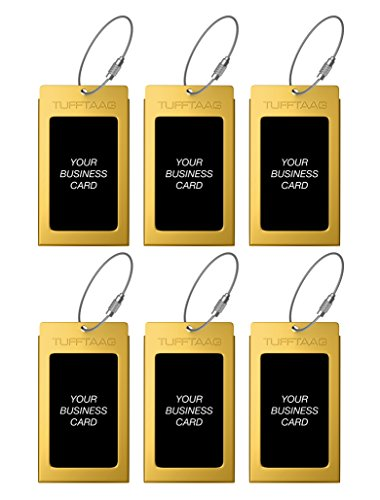Luggage Tags Business Card Holder TUFFTAAG Travel ID Bag Tag in Many Color Options (6 Tags, Mayan Gold 6Pk)