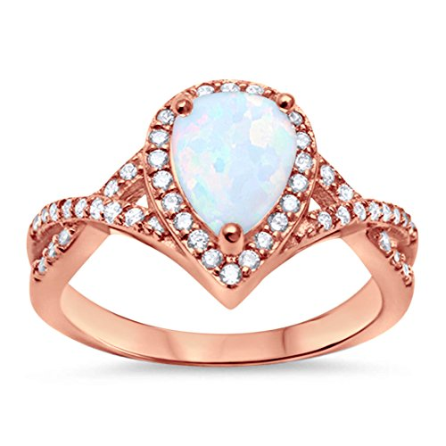 Blue Apple Co. Halo Teardrop Fashion Ring Infinity Twist Shank Pear Created White Opal Round Simulated Cubic Zirconia Rose Tone 925 Sterling Silver, Size - 5 (Ring Opal Teardrop)