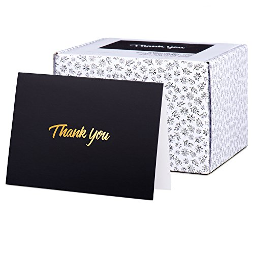 100 Thank You Cards with Gold Text on Black Paper - With Envelopes