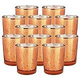 Just Artifacts Speckled Mercury GlassVotiveCandle Holder 2.75'' H(100pcs,Copper Votives) w/ 100pcs Wax Tea Light Candles Included