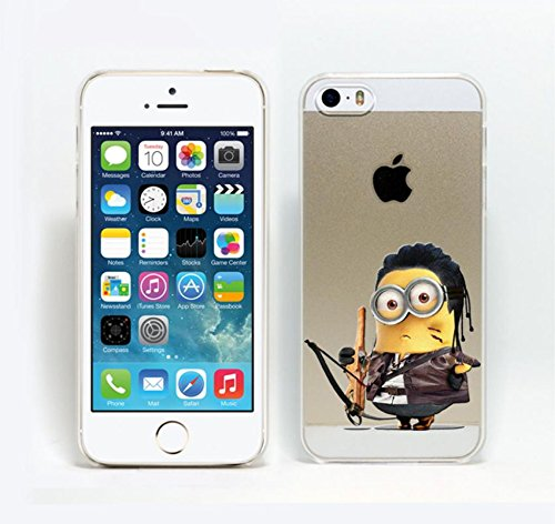 iPhone 5/5s Minions Hard Back Phone Case / Cover for Apple iPhone 5s 5 SE / Screen Protector & Cloth / iCHOOSE / Black (Gru With Wig)