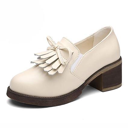 Zapatos para mujer HWF Zapatos de tacón Alto Estilo británico Solo (Color : Blanco,