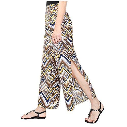 Moderne Mousseline Marlne Taille Pantalons Pantalon Long Pantalons Bootcut Femme Ete Femmes Pantalons Pantalon Hibote Jaune Fleurs Haute lgant Imprimer vass qxpOYnw