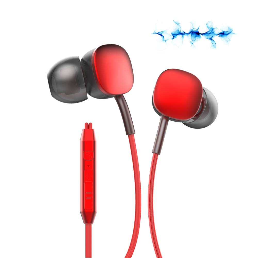 Headphones Hi5 Earphones Earbuds,in-Ear Earbuds Noise Isolation Headsets, Ergonomic Design with Microphone for Apple iPhone, iPod, iPad, Samsung Cell Phones and Smartphones Red
