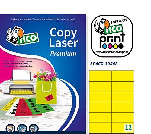 Giallo 70 FF 105 x 48 Tico LP4CG-10548 Etichette Colorate Opache