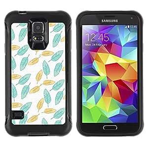 Suave TPU Caso Carcasa de Caucho Funda para Samsung Galaxy S5 SM-G900 / Painted Teal Wallpaper Green / STRONG