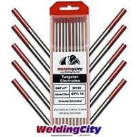 WeldingCity 10 TIG Welding Tungsten Electrodes 2% Thoriated (Red) 0.040x7 (10Pk Box) by WeldingCity