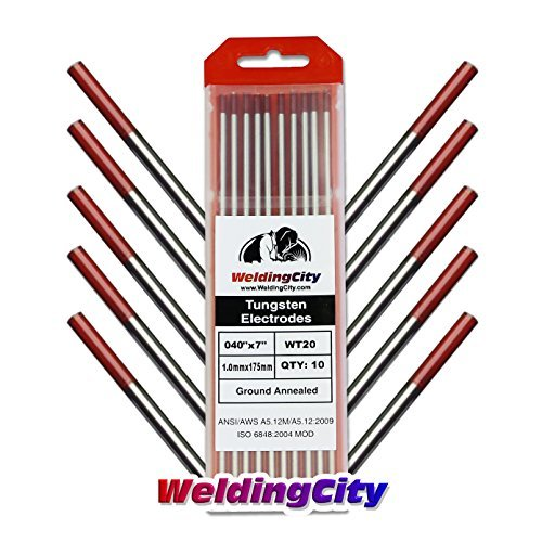 WeldingCity 10 TIG Welding Tungsten Electrodes 2% Thoriated (Red) 0.040x7 (10Pk Box) by WeldingCity ()