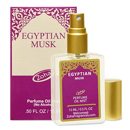 Egyptian Musk Perfume Oil Mist (No Alcohol) Egyptian Oil Fragrance - Essential Oils and Perfumes for Women and Men by Zoha Fragrances, 15 ml / 0.50 fl Oz (Light Perfume Oil Musk)