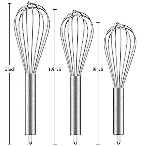 """Ouddy 3 Pack Stainless Steel Whisks 8""""+10""""+12"""", Wire Whisk Set Wisk Kitchen Tool Kitchen whisks for Cooking, Blending, Whisking, Beating, Stirring"""