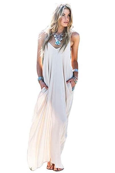 buy popular 8a7b3 eb75c Zearo Donna Sexy Vestito Lungo Elegante Bianco Festa Cerimonia Abito da  Sera Spiaggia