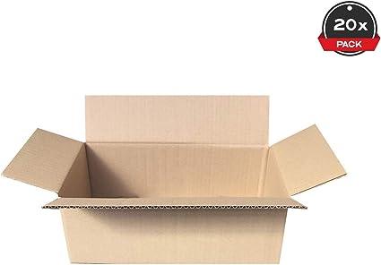 Cajeando   Pack de 20 Cajas de Cartón de Canal Simple   Tamaño 35 x 18,4 x 12,5 cm   Color Marrón   Mudanzas   Cajas Pequeñas de Almacenaje   Fabricadas en España: Amazon.es: Oficina y papelería
