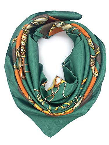 YOUR SMILE Silk Feeling Scarf Women's Fashion Pattern Green Orange Chain Large Square Satin Headscarf (316)