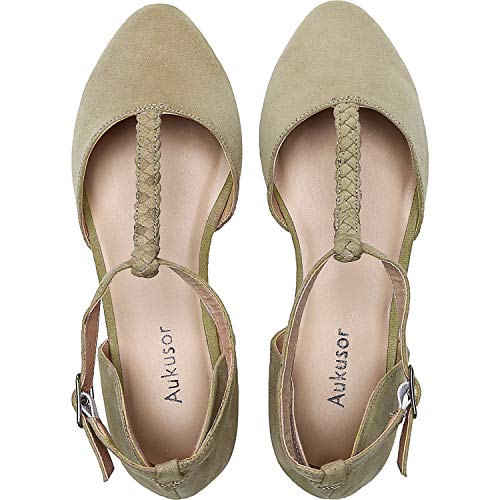 Aukusor Women's Wide Width Ballet Shoes - T-Strap Pointed Toe Casual Flat.(180315 BeigeMF 11.5)