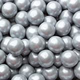 Gumballs for Candy Buffet and Party Favors - 2 LB Flavored 1 Inch Wedding Gumballs - Oh! Nuts (Silver Shimmer Pearl gumballs)