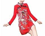 Coac3 Cheongsams Dress Slim Print Stand Collar Traditional Chinese Dresses Long Sleeve Mini Qipao Red