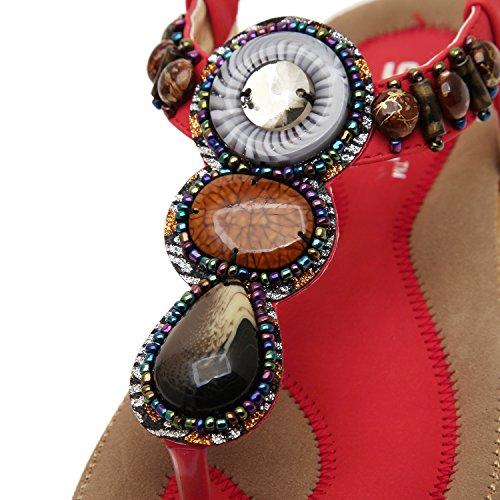 Oasap Damen Fashion Bohemia Sommer Beads Sandalen, Schwarz EURO39/US7/UK5