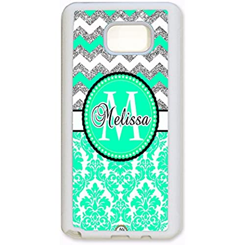 ArtsyCase Mint Damask Silver Chevron Monogram Personalized Name Phone Case - Samsung Galaxy S7 Edge (White) Sales