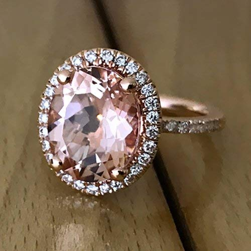Oval Cut Morganite Engagement Ring 14k Rose Gold Peach Pink Morganite Ring Handmade Anniversary Ring (Gold Peach Rose Sapphire)