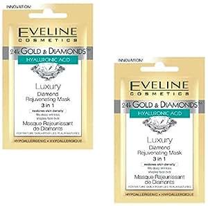 Set of 2 Eveline Cosmetics 24K Gold & Diamonds Luxury Rejuvenating Mask