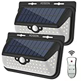 Solar Lights Outdoor, ADSION Motion Sensor Light 68 Super Bright LED Wall Lights with Remote Control, Waterproof Solar Lights Security Lights for Front Door, Patio, Deck, Yard, Garden (2 PACK)