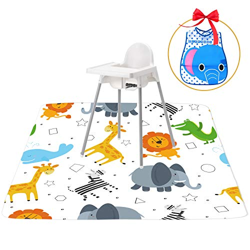 """51"""" Splat Mat for Under High Chair, Ariond Kids Washable Spill Mat Water-Resistant Anti-Slip Floor Splash Mat, Extra Safe Portable Play Mat and Table Cloth for Art/Crafts + Free Elephant bib"""