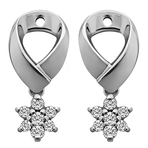 1/5 ct. Forever Brilliant Moissanite by Charles Colvard Moissanite Flower Dangle Earring Jackets in Sterling Silver (0.18 ct. twt.) by TwoBirch