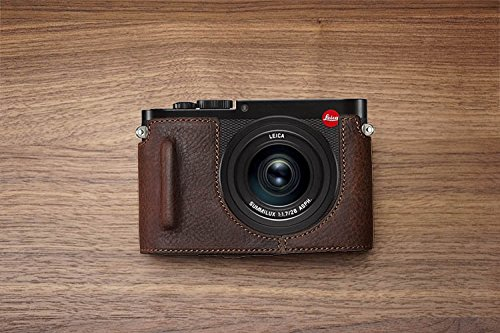 Handmade Genuine Real Leather Half Camera Case Bag Cover for Leica Q Typ116 Black Bottom Opening Version