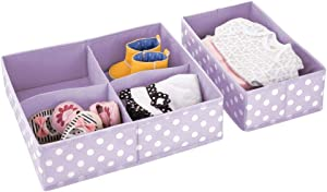 mDesign Soft Fabric Dresser Drawer and Closet Storage Organizer Set for Baby, Child/Kids Bedroom, Nursery, Playroom, Closet Organization - 5 Compartments, 2 Piece Set- Light Purple/White