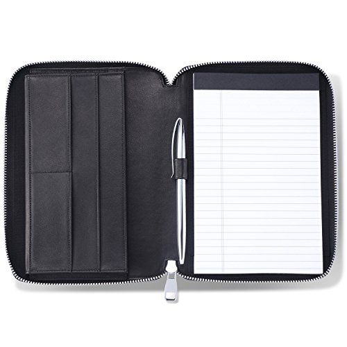 HISCOW Classy Leather Junior Zippered Portfolio with Pen Loop - Italian Calfskin (Classic Black)